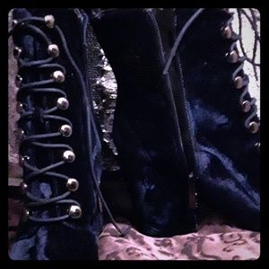 Kendall and Kylie Blue Velvet Boots